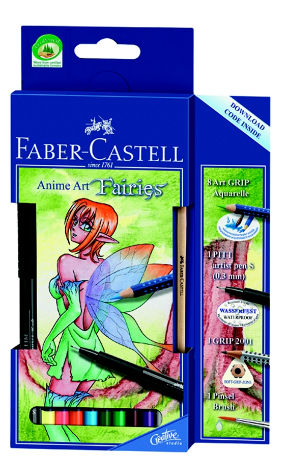 Faber-Castell pastelky ART GRIP akvarel ANIME ART FAIRIES 10ks + štěteček