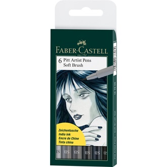 Faber-Castell PITT ARTIST PEN SOFT BRUSH 6ks, 167806