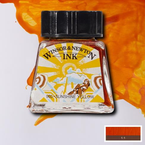 Winsor&Newton, šelaková tuš Sunshine Yellow, 14ml