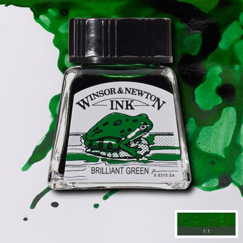Winsor&Newton, šelaková tuš Briliant green, 14ml