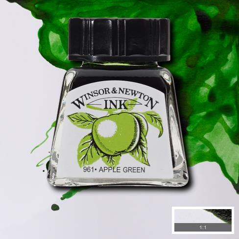 Winsor&Newton, šelaková tuš Apple green, 14ml