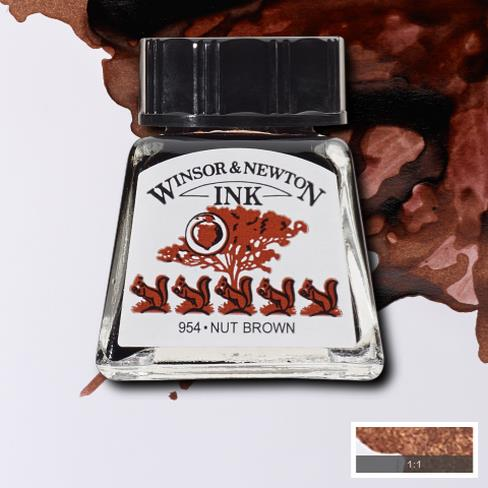 Winsor&Newton, šelaková tuš Nut brown, 14ml