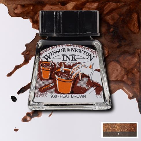 Winsor&Newton, šelaková tuš Peat brown, 14ml