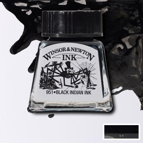 Winsor&Newton, šelaková tuš Black indian ink, 14ml
