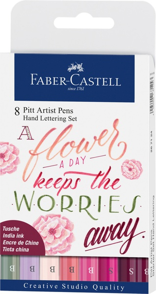 Faber-Castell PITT ARTIST PEN Brush, Hand Lettering set, Flower, 8ks