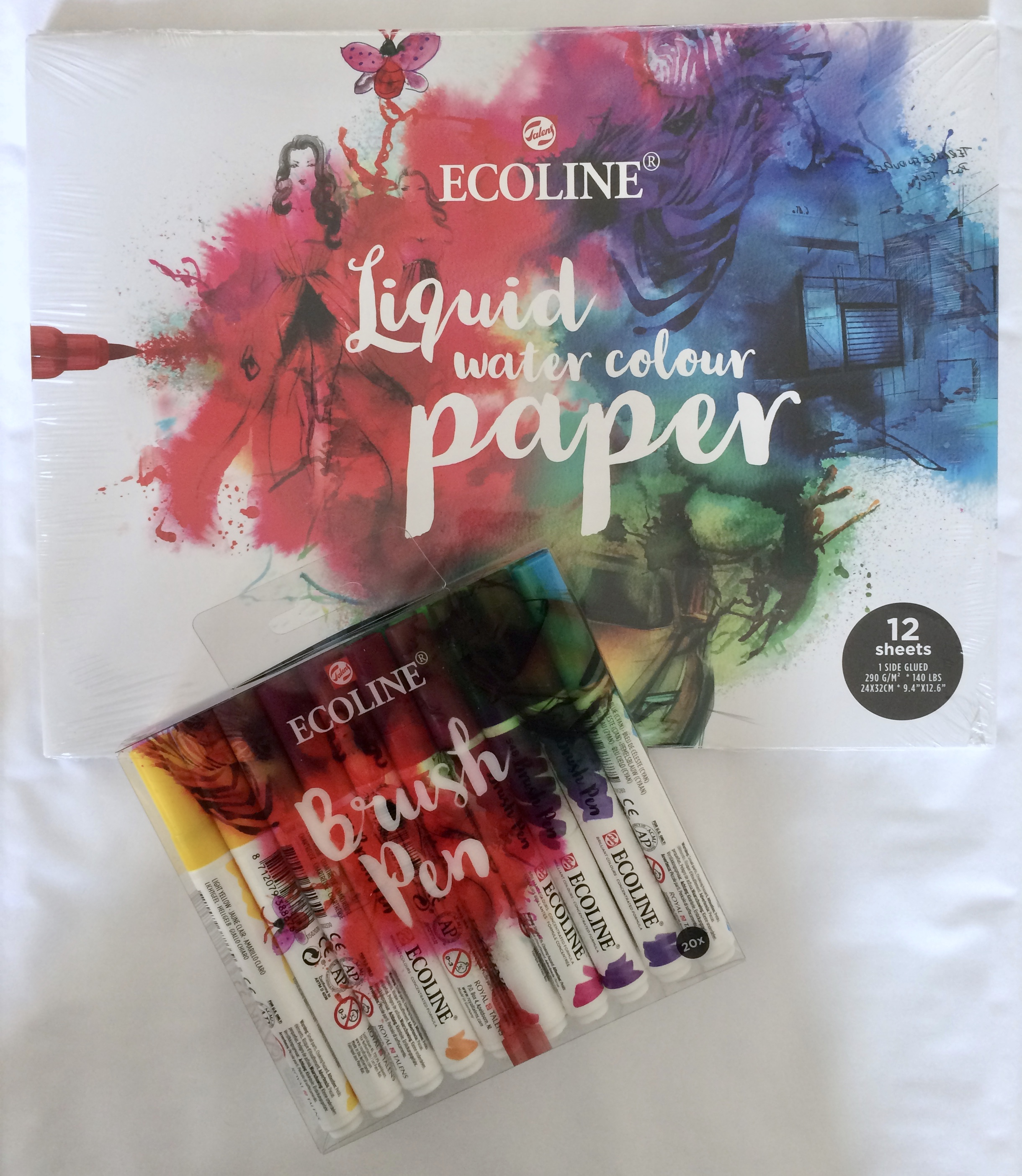 Royal Talens, Ecoline brush 20ks + blok ECOLINE liquid watercolour SPECIÁLNÍ CENA!