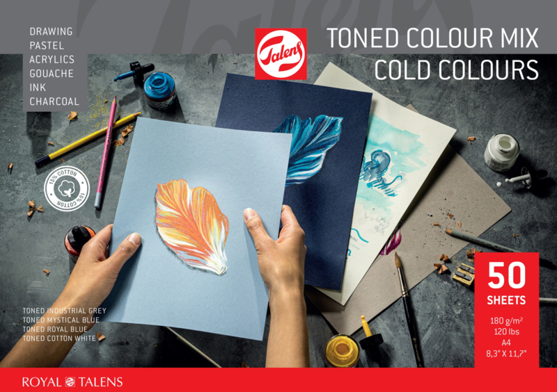 Royal Talens, Toned Colour mix cold colours, blok mix media, 50 listů, A3